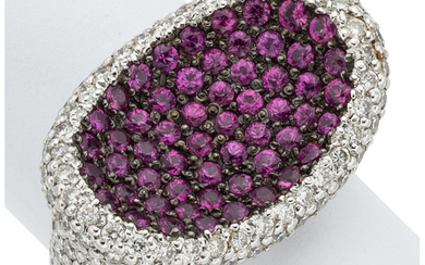 Ruby, Diamond, White Gold Ring The ring features round-cut...