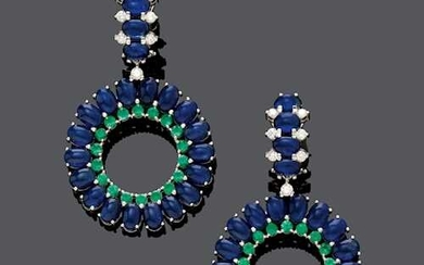 SAPPHIRE, EMERALD AND DIAMOND EAR PENDANTS.