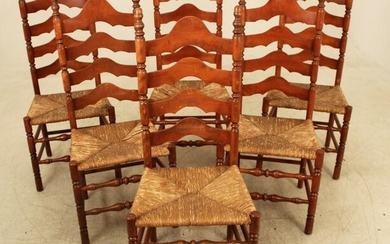 SET OF 6 AMERICAN STAINED CHERRY LADDER BACK CHAIRS