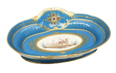 Sevres Hand Painted Porcelain Jewelled Enamel Bowl