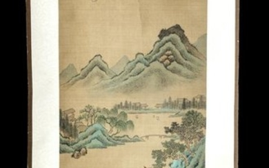 Signed Mid 20th C. Chinese Scroll Painting on Silk