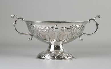 Silver brandy bowl, 833/000, decorated with a mechanism
