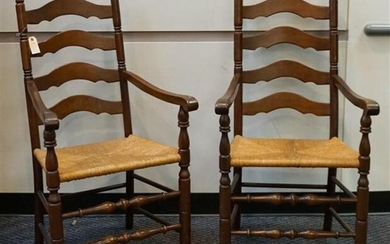Six Pennsylvania House Windsor Style Cherry Brace-Back Side Chairs and a Pair of Rush Seat Ladder-Back Armchairs