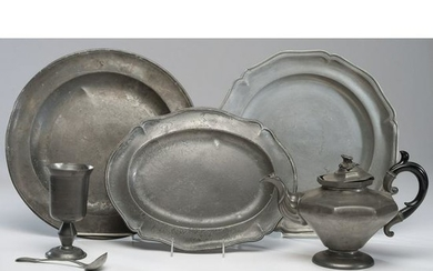 Six Pewter Table Articles