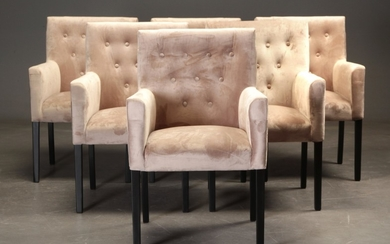 Dining chairs, Velour upholstery 'Sand' (6)