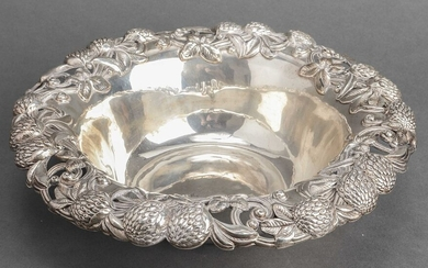 Sterling Silver Berry & Foliate Motif Serving Bowl