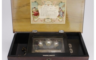 Swiss 10 Airs three bell music box with butterfly hammers, c...