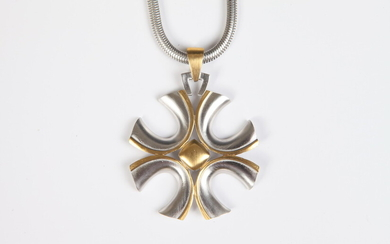 TRIFARI TWO CROSS SILVER AND GOLD-TONE NECKLACE WITH SILVER-TONE CHAIN....