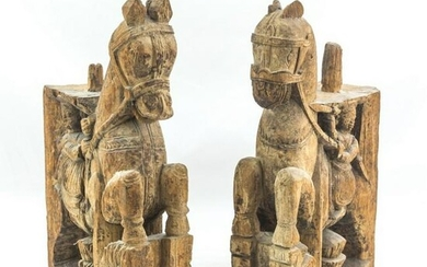 Thai Style Carved Wood Mounted Horse Statues PAIR