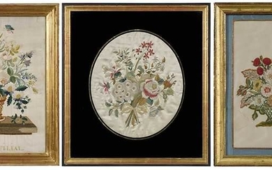 Three Framed Floral Silk Embroideries