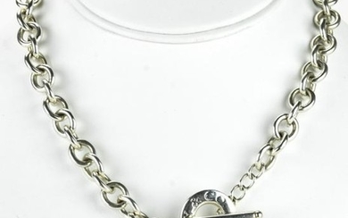 Tiffany Sterling Heart Heart Charm Toggle Necklace