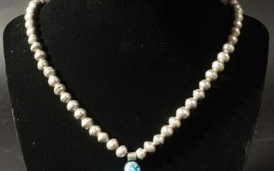 Tom Willeto, Navajo Sterling and Turquoise Necklace