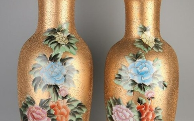 Two large Chinese porcelain vases with peony decoration