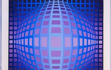 """VICTOR VASARELY (FRENCH/HUNGARIAN, 1906-1997) SCREENPRINT IN COLORS, ON HEAVY WOVE PAPER, H 23.5"""" W 23.5"""" COMPOSITION"""