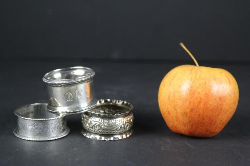 VINTAGE SILVER PLATE NAPKIN RING GROUPING