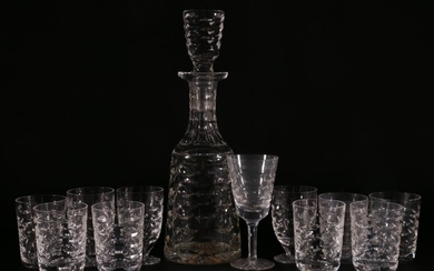 """Waterford Crystal """"Tralee"""" Patterned Drinks Suite Of Seven Small Tumblers, Three Footed Short Glasses And One Wine glass"""