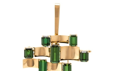 YELLOW GOLD AND GREEN TOURMALINE PENDANT/BROOCH