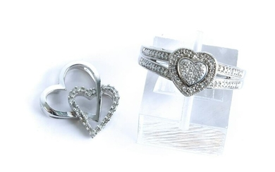 10K WG Heart Shaped Diamond Pendant and Ring