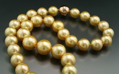 14 kt. Pink gold - Necklace Golden South Sea pearls 12.0-15.4 mm wonderful color fine chandeliers, bayonet clasp