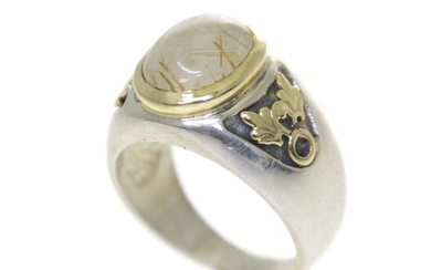 14k Yellow Gold and Sterling Silver Rutile Quartz Ring.