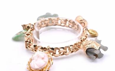 14k Yellow Gold Vintage Jade and Cameo Charm Bracelet