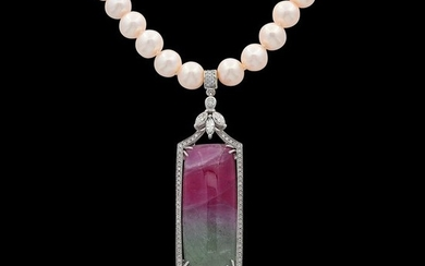 18 kt. Sweetwater pearls, White gold, Diamond - Necklace with pendant - 43.01 ct Tourmaline - Diamond, Pearl