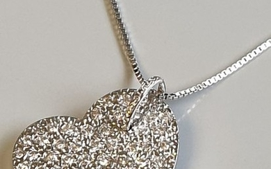 18 kt. White gold - Necklace with pendant - 1.04 ct Diamond