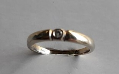 18 kt. White gold, Yellow gold - Ring - 0.05 ct Diamond