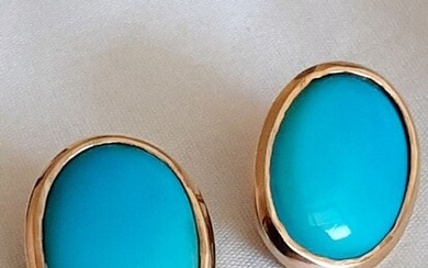 18 kt. Yellow gold, Turquoise - Earclips 13.0gr
