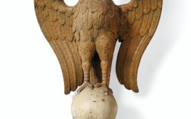 18TH/19TH CENTURY, A NORTH GERMAN CARVED OAK FIGURE OF A SPREAD-WINGED EAGLE ON SPHERE