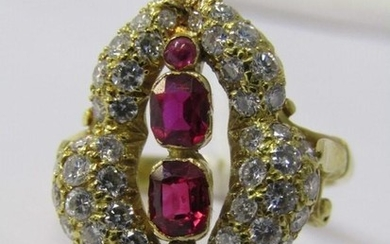 18ct YELLOW GOLD RUBY & DIAMOND COCKTAIL RING, unusual Art N...