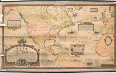 1928 Clegg Map of the Flights of Charles Lindbergh