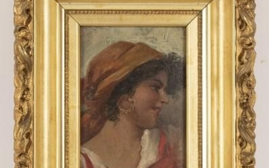 19th C. Gypsy Portrait in Gilt Wood Frame