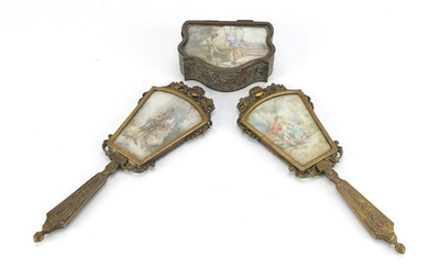 19th century French ornate brass dressing table items,