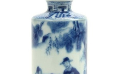 19thC Chinese Blue and White Snuff Bottle