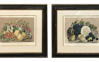 "2 CURRIER & IVES MEDIUM FOLIO FRUIT STILL LIFES ""SUMMER"