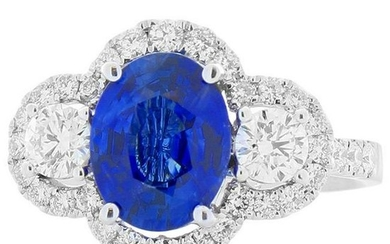 2.03 Carat Oval Sapphire and Diamond Cocktail Ring in