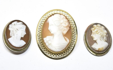 3 Antique Shell Cameos - Gold Filled & Sterling
