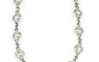 5.5ct Diamonds by The Yard Necklace 18k White Gold
