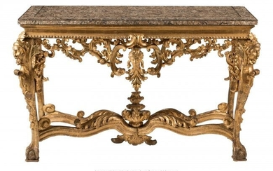 61051: An Italian Carved Giltwood Console Table with Ma
