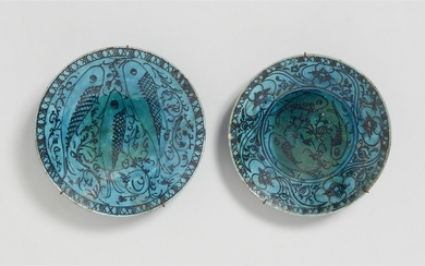 Two Iranian fritware bowls with fish decor