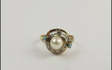 9ct Yellow Gold Pearl And Turquoise Ring UK Size P+ US