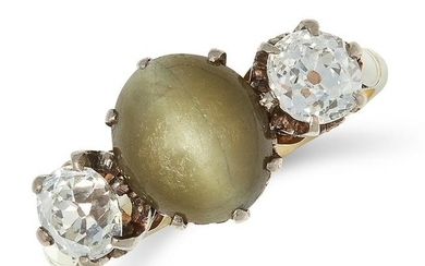 A CATS EYE AND DIAMOND THREE STONE RING set with a