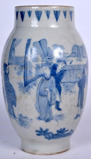 A CHINESE BLUE AND WHITE TRANSITIONAL STYLE PORCELAIN