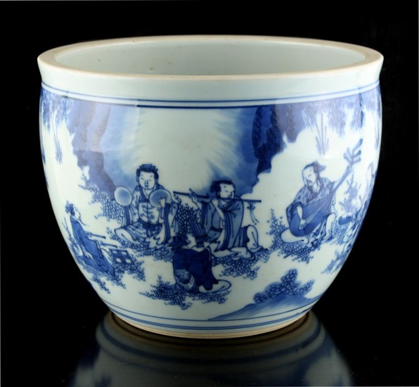 A Chinese blue & white fishbowl planter, decorated with a co...