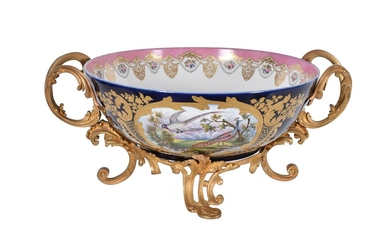 A French porcelain and gilt metal mounted twin-handled bowl