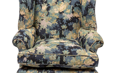 A George III Style Mahogany Tapestry-Upholstered Wing Chair