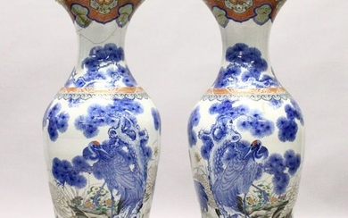 A LARGE PAIR OF JAPANESE MEIJI PERIOD BLUE AND WHITE