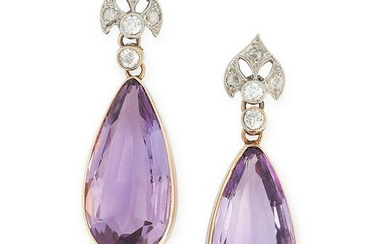 A PAIR OF ANTIQUE AMETHYST AND DIAMOND EARRINGS in high