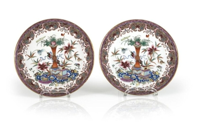 A PAIR OF FAMILY ROSE PORCELAIN FLOWER AND...